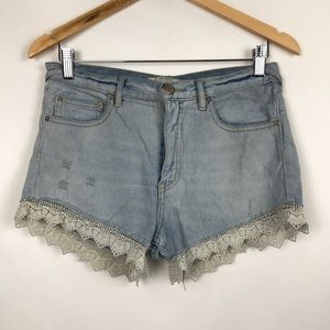 Free People Distressed Lace Denim Shorts 27